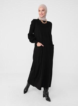 Black - Unlined - Crew neck - Knit Dresses