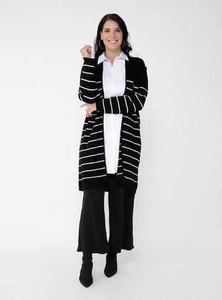 Ecru - Black - Stripe - Acrylic - Triko - Plus Size Cardigan