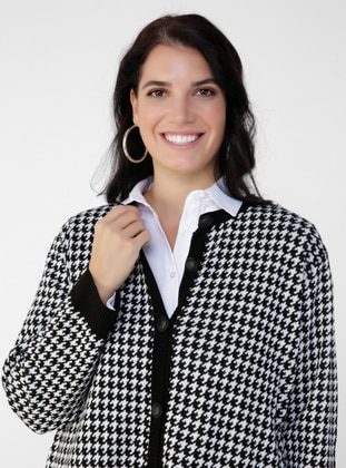 Ecru - Black - Houndstooth - Button Collar - Acrylic - Triko - Plus Size Cardigan - Alia