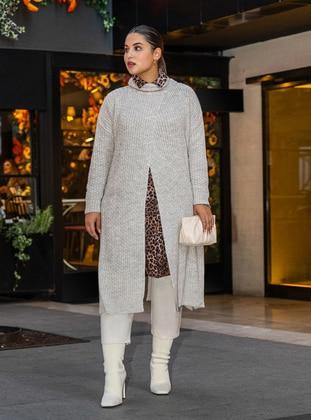 Gray - Polo neck - Acrylic - Triko - Plus Size Cardigan