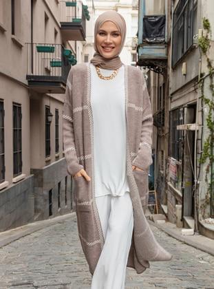 Beige - Mink - Stripe - Acrylic - Triko - Cardigan