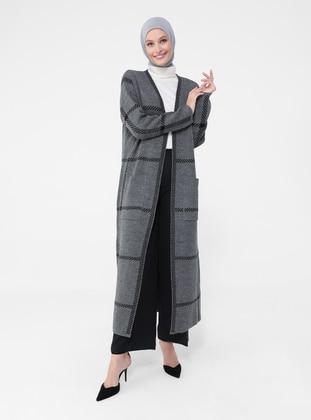 - Black - Stripe - Acrylic - Triko - Cardigan