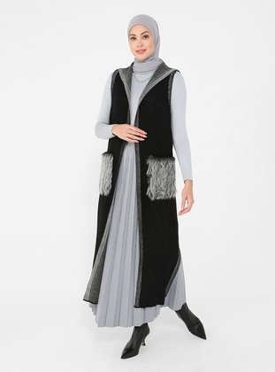 Black - Unlined - Acrylic - Triko - Vest
