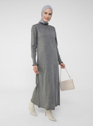 Antrasit Melanj - Unlined - Polo neck - Knit Dresses