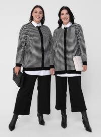 Ecru - Black - Houndstooth - Button Collar - Acrylic - Triko - Plus Size Cardigan