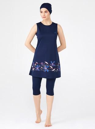 Dark Navy Blue - Half Coverage Swimsuit
