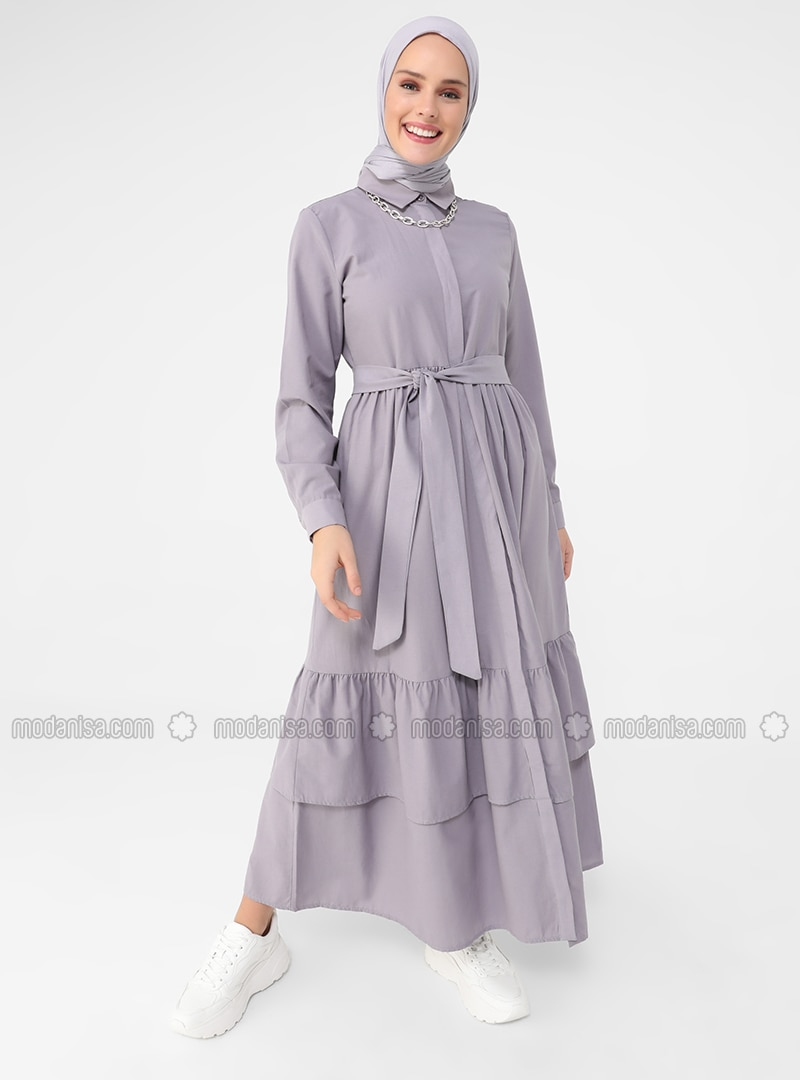Purple - Point Collar - Unlined - Cotton - Modest Dress