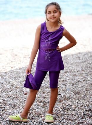 Crew neck - Purple - Girls` Swimsuit - Emayo