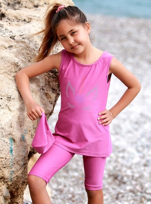 Crew neck - Pink - Girls` Swimsuit - Emayo