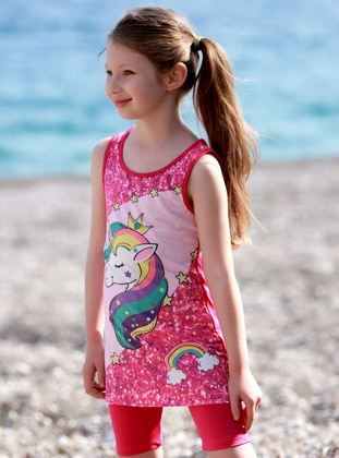 Multi - Crew neck - Pink - Girls` Swimsuit - Emayo