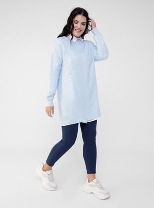 Beige - Crew neck - Plus Size Knit Tunics