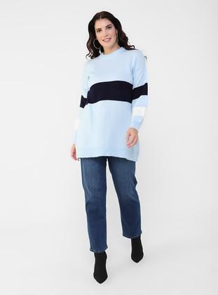 Ecru - Navy Blue - Crew neck - Plus Size Knit Tunics
