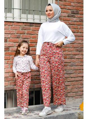 Floral - Round Collar - Unlined - Maroon - Girls` Pants
