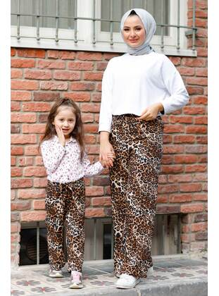 Floral - Round Collar - Unlined - Mink - Girls` Pants