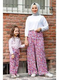 Floral - Round Collar - Unlined - Fuchsia - Girls` Pants