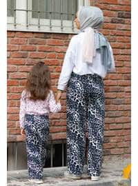 Floral - Round Collar - Unlined - Navy Blue - Girls` Pants