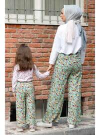 Floral - Round Collar - Unlined - Mint - Girls` Pants
