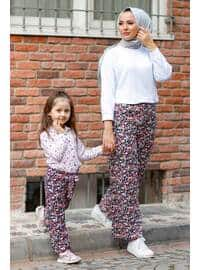 Floral - Round Collar - Unlined - Pink - Girls` Pants