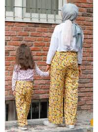 Floral - Round Collar - Unlined - Yellow - Girls` Pants