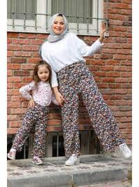 Floral - Round Collar - Unlined - Black - Girls` Pants
