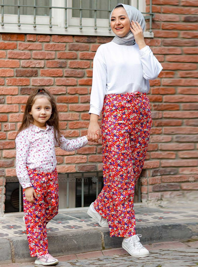 Floral - Round Collar - Unlined - Red - Girls` Pants