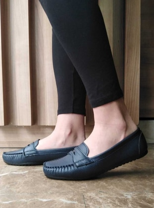 Flat - Navy Blue - Casual Shoes