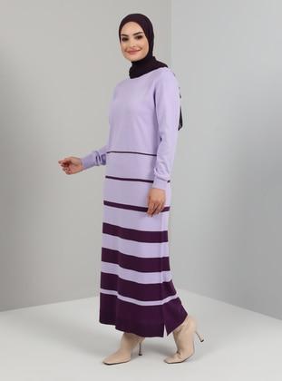 Lilac - Stripe - Unlined - Crew neck - Knit Dresses