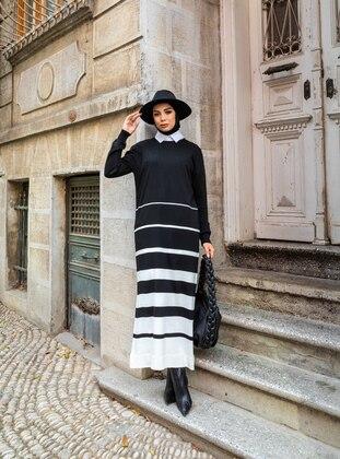 Black - Stripe - Unlined - Crew neck - Knit Dresses