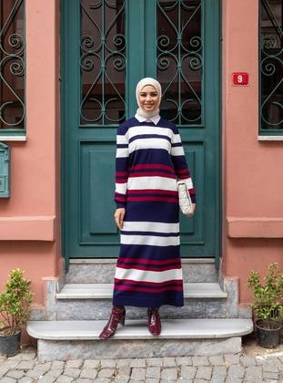 Navy Blue - Stripe - Unlined - Crew neck - Knit Dresses