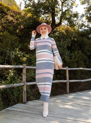 Powder - Stripe - Unlined - Crew neck - Knit Dresses - Tavin