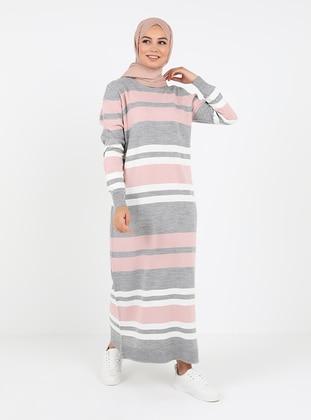 Powder - Stripe - Unlined - Crew neck - Knit Dresses