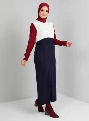 Navy Blue - Unlined - Crew neck - Knit Dresses