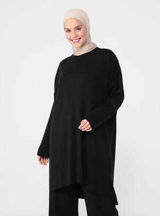Black - Crew neck - Knit Tunics