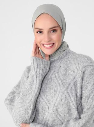 Gray - Polo neck - Unlined - Knit Tunics