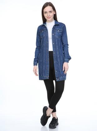 Blue - Blue - Unlined - V neck Collar - Denim - Jacket
