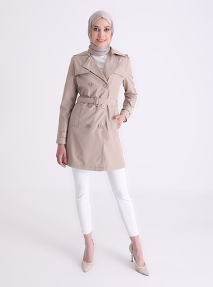 Beige - Fully Lined - Shawl Collar - Trench Coat