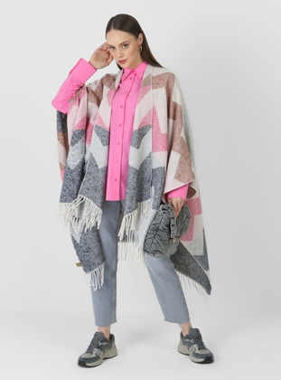 Navy Blue - Pink - Tan - Multi - Unlined - Poncho