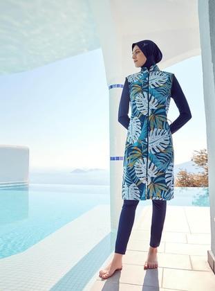 Green - Multi - Full Coverage Swimsuit Burkini