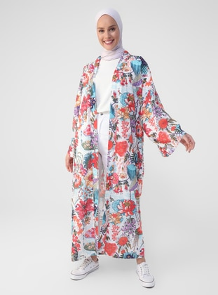 Multi - Floral - Unlined - V neck Collar - Abaya