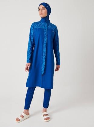 Blue - Multi - Full Coverage Swimsuit Burkini