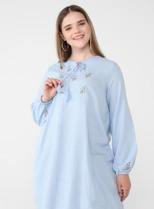 Blue - Crew neck - Cotton - Plus Size Tunic