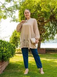 Beige - Crew neck - Cotton - Plus Size Tunic