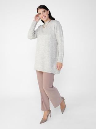 - Polo neck - Plus Size Knit Tunics