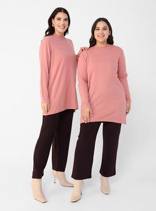Dusty Rose - Crew neck - Plus Size Knit Tunics
