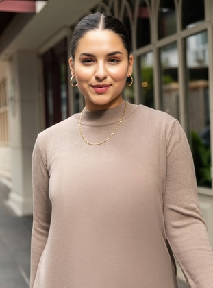 Mink - Crew neck - Plus Size Knit Tunics