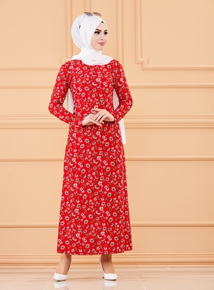 Red - Multi - Crew neck - Unlined - Modest Dress