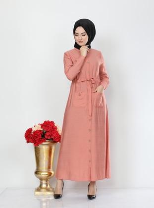 Salmon - Point Collar - Unlined - Modest Dress