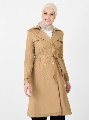 Tan - Fully Lined - V neck Collar - Trench Coat