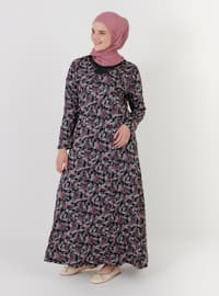 - Multi - Unlined - Crew neck - Plus Size Dress