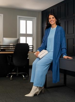 Blue - Acrylic - Triko - Plus Size Cardigan
